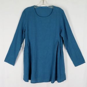 Cut Loose Blue Linen Cotton Tunic S Shaped Waist